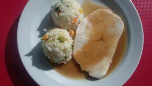 Krůtí prsa sous vide, zeleninová rýže